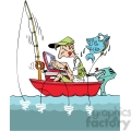 cartoon man fishing in a small boat with laptop  gif, png, jpg, eps, svg, pdf