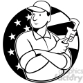 black and white plumber monkey wrench circle