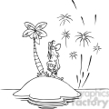 black white cartoon happy new year from island