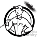 black and white chimney sweeper standing