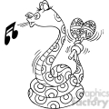 snake playing the maracas in black and white  gif, png, jpg, eps, svg, pdf
