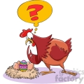 cartoon chicken confused about easter egg