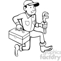 black and white plumber with toolbox