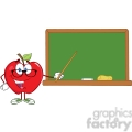 5762 Royalty Free Clip Art Smiling Apple Teacher Character With A Pointer In Front Of Chalkboard