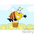 5579 royalty free clip art smiling bee flying with a honey bucket and waving for greeting over flowers