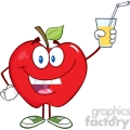 5776 Royalty Free Clip Art Smiling Apple Cartoon Character Holding A Glass With Drink