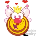 5587 Royalty Free Clip Art Happy Queen Bee Cartoon Mascot Character With Hearts