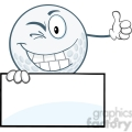 5729 royalty free clip art winking golf ball holding a thumb up over sign  gif, png, jpg, eps, svg, pdf