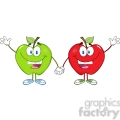 5755 Royalty Free Clip Art Smiling Red And Green Apples Waving For Greeting