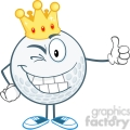 5720 Royalty Free Clip Art Winking Golf Ball Cartoon Character With Gold Crown Holding A Thumb Up