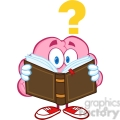 5840 Royalty Free Clip Art Surprised Brain Cartoon Character Reading A Book With Question Mark