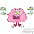 5831 royalty free clip art money loving brain cartoon character  gif, png, jpg, eps, svg, pdf
