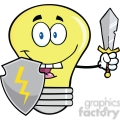 6117 Royalty Free Clip Art Light Bulb Guarder With Shield And Sword