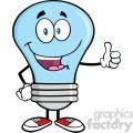 6044 Royalty Free Clip Art Blue Light Bulb Cartoon Mascot Character Giving A Thumb Up