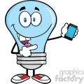 6092 Royalty Free Clip Art Blue Light Bulb Character Holding A Mobile Phone