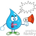 6225 Royalty Free Clip Art Angry Water Drop Character Screaming Into Megaphone With Speech Bubble