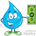 6235 Royalty Free Clip Art Water Drop Character Showing A Dollar Bill