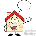 6467 Royalty Free Clip Art Happy House Cartoon Mascot Character Waving For Greeting With Speech Bubble