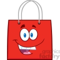 6719 Royalty Free Clip Art Happy Red Shopping Bag Cartoon Mascot Character