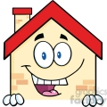 6466 Royalty Free Clip Art Happy House Cartoon Mascot Character Over Blank Sign