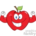 6507 Royalty Free Clip Art Smiling Apple Cartoon Mascot Character With Muscle Arms