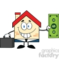 6452 Royalty Free Clip Art Smiling House Businessman Carrying A Briefcase And Showing A Dollar Bill