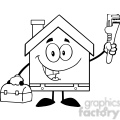 6455 royalty free clip art black and white house plumber with wrench and tool box  gif, png, jpg, eps, svg, pdf