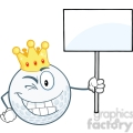 6489 Royalty Free Clip Art Winking Golf Ball With Gold Crown Holding A Blank Sign