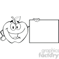 6515 Royalty Free Clip Art Black and White Apple Cartoon Character Showing A Blank Sign