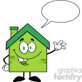 6477 Royalty Free Clip Art Green Eco House Cartoon Character Waving For Greeting With Speech Bubble