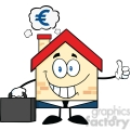 6449 Royalty Free Clip Art Smiling House Businessman Carrying A Briefcase,Giving A Thumb Up With Smoke Cloud And Euro Sign