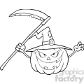 6635 Royalty Free Clip Art Back And White Scaring Halloween Pumpkin With A Witch Hat And Scythe Cartoon Illustration