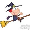 6630 Royalty Free Clip Art Halloween Little Witch Cartoon Character Waving For Greeting