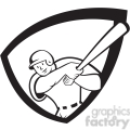baseball batter batting front 2 black white  gif, png, jpg, eps, svg, pdf