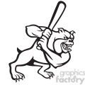 baseball bulldog player batting black white  gif, png, jpg, eps, svg, pdf