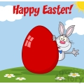 Royalty Free RF Clipart Illustration Happy Easter From Gray Rabbit Cartoon Character Waving Behinde Egg