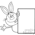 royalty free rf clipart illustration black and white cute rabbit cartoon character looking around a blank sign and waving gif, png, jpg, eps, svg, pdf