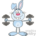 Royalty Free RF Clipart Illustration Smiling Blue Rabbit Cartoon Character Training With Dumbbells