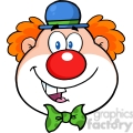 Royalty Free RF Clipart Illustration Funny Clown Head Cartoon Character