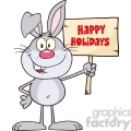 Royalty Free RF Clipart Illustration Funny Gray Rabbit Cartoon Character Holding A Wooden Board With Text