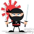 angry ninja warrior with two katana flat design  gif, png, jpg, eps, svg, pdf