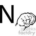ASL sign language N clipart illustration worksheet
