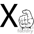 ASL sign language X clipart illustration worksheet