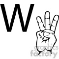 ASL sign language W clipart illustration worksheet