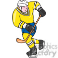 ice hockey player action in yellow shape
