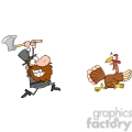 angry pilgrim chasing with axe a turkey gif, png, jpg, eps, svg, pdf