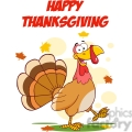 happy thanksgiving greeting with turkey walking