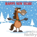6874_Royalty_Free_Clip_Art_Happy_New_Year_Greeting_With_Smiling_Horse_Cartoon_Mascot_Character_Over_Winter_Landscape