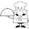 6835_Royalty_Free_Clip_Art_Black_and_White_Happy_Chef_Cartoon_Character_Holding_A_Platter