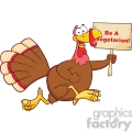 6956 Royalty Free RF Clipart Illustration Happy Turkey Bird Cartoon Character Running With A Blank Wood Sign